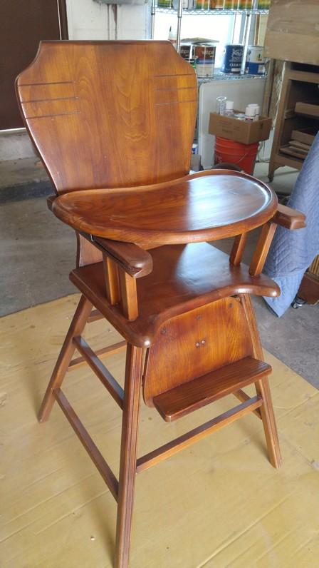 Antique High Chair Refinishing on Garford St in Long Beach CA