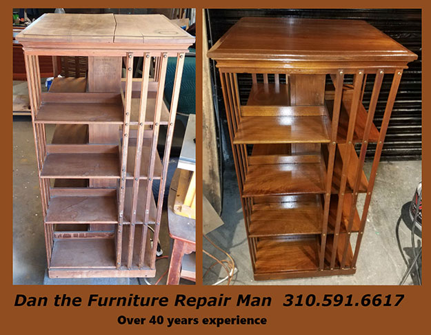 Antique Revolving Bookcase Restoration In Long Beach Ca